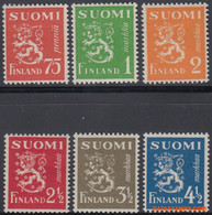Finland 1942 - Mi:261/266, Yv:255/260, Stamp - XX - Long-term Series Coats Of Arms - Unused Stamps