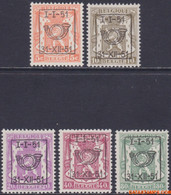 België 1951 - OBP:PRE 609/613, Typografisch Voorafgestempeld - XX - Heraldic Lion Series 40 - Tipo 1936-51 (Sigillo Piccolo)