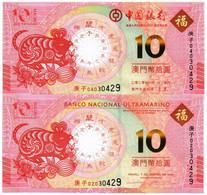 MACAU (MACAO) 10 PATACAS BOC+BNU 2020 P NEW - UNC - Macao
