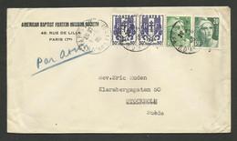 Affr.chaines & Marianne De Gandon / Lettre Avion PARIS 09.05.1946 >>> SUEDE - 1921-1960: Modern Period