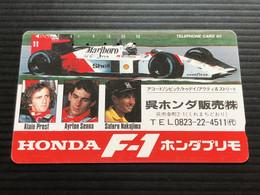 Telecarte JAPON / 110-011 - F1 HONDA ALAIN PROST - AYRTON SENNA - SATORU NAKAJIMA - Car Racing - 1 JAPAN Used Phonecard - Voitures