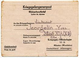 CLFM REPONSE PRISONNIER DE GUERRE POUR OFLAG VID MUNSTER ( WESTFALEN ) ORIGINE ALGERIE - 1921-1960: Periodo Moderno