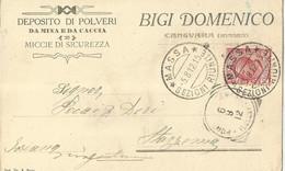BIGI DOMENICO CANGUARA MASSA DEPOSITO DI POLVERI DA MINA E DA CACCIA MICCIE DI SICUREZZA VIAGGIATA  1912 (1227) - Pubblicitari
