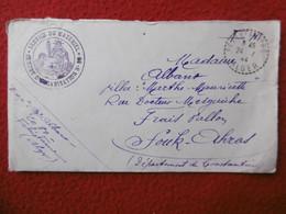 LETTRE CACHET FELIX FAURE ALGER VIA SOUK AHRAS ALGERIE CACHET FRANCHISE MILITAIRE CENTRE D ORGANISATION 1944 - Brieven En Documenten