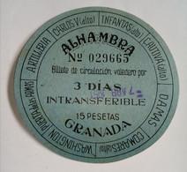 TICKET ALHAMBRA GRANADA . 1951 - Tickets D'entrée