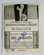TICKET . BELLE ARTI . . ITALIE - Tickets D'entrée