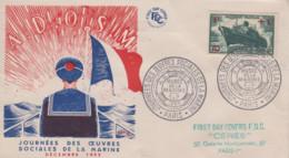 Enveloppe  FDC    FRANCE   Journées  Des  Oeuvres  Sociales  De  La  Marine   PARIS    1955 - 1950-1959