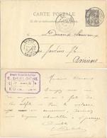 GRANDE BRASSERIE EUDOISE E. DERLOCHE EU SEINE INFERIEURE  TàD 12 MARS 94 Sur ENTIER C.P. TYPE SAGE 10 C. - Standard Postcards & Stamped On Demand (before 1995)