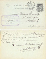DELAVIGNE BRASSEUR HAM SOMME TàD 27 JUIL 94 Sur ENTIER C.P. TYPE SAGE 10 C. + MARQUE OR - Standard Postcards & Stamped On Demand (before 1995)