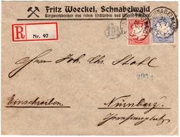 Bayern 1911, 10+20 Pf. Auf Reko Firmenbrief M. Stummem R-Zettel - Bavaria