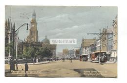 Sydney - George Street At Cathedral, Trams - 1907 Used Australia Postcard - Sydney