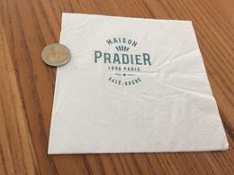 """Serviette Papier """"MAISON PRADIER 1859 PARIS"""" Pliée - Company Logo Napkins"""