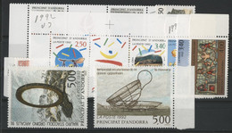 ANDORRE FRANCAIS 1992 ANNEE COMPLETE COTE 40.2 € N° 413 à 424 NEUFS ** (MNH). Vendue à 10% De La Cote. TB - Full Years
