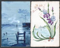 2 Cartes Aquarellées  Signées Lily Et A. Gardet. Une Carte Autographe De Paul Marguerite - Autographes