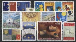 ANDORRE FRANCAIS 2000 ANNEE COMPLETE COTE 45.7 € N° 525 à 539 NEUFS ** (MNH). Vendue Sous La Valeur Faciale (-27%). TB - Full Years