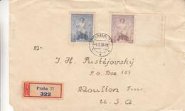 Tchècoslovaquie - Lettre Recom De 1939 - Oblit Praha - Exp Vers Moulton Texas Au USA - Cachet De Saint Louis - Covers & Documents