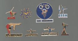 PINS PIN'S SPORTS 842 GYMNASTIQUE GYM GYMNOVA FEDERATION FFG FAC FRONTIGNAN LA BAUME MIRAMAS BOULIEU LOT 8 PINS - Ginnastica