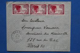 V22 ROYAUME DU  LAOS BELLE LETTRE 1952 POUR PARIS  FRANCE+ BANDE DE 3 T.P+ AFFRANCH. INTERESSANT - Laos