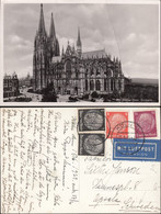 Germany - Kölner Dom. Luftpost MiF Postkarte, Köln 15.6.1939 - Upsala, Schweden. - Airmail