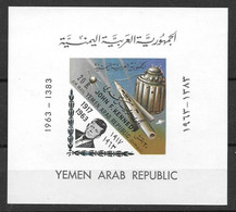 Yemen Rare Space And Kennedy Sheet With Overprint Mnh ** 60 Euros 1964 - Yemen