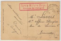 Sureté Militaire Belge - Groupe De Cologne - Militaire Stempel Groep Keulen - Auf Karte Cöln A Rhein - Frankenwerft - Belgian Zone