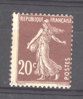 0ob  0523  -  France  :  Yv  139a  *    Type I     Lilas Brun - 1906-38 Semeuse Camée