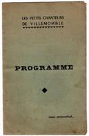 VILLEMOMBLE (93) PROGRAMME. LES PETITS CHANTEURS DE VILLEMOMBLE. - Programmes