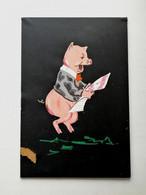 """Russia / Gouache / """"Piglet With Newspaper Wish In 1983"""" / Artist Unknown / Krasnodar / Defect - Estampas"""