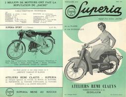 PUBLICITE  MOBYLETTES ET MOTOCYCLETTES SUPERIA 1957 ATELIERS REMI CLAEYS A ZEDELGEM - Reclame