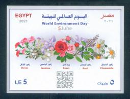EGYPT / 2021 / WORLD ENVIRONMENT DAY / FLOWERS / CLOVES / JASMINE / ROSES / BASIL / CHAMOMILE / MNH / VF - Neufs