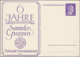 Germany - Privat Stationery Card / 6 Pf. GA-Postkarte, 6 Jahre KdF Sammler Gruppen 1935 - 1941 Alles Für Deutschland. - Stamped Stationery
