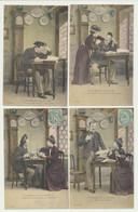 Lôt - Série Complète De 6 Cartes Fantaisie Couple -  La Lettre - L'étudiant Et Sa Lisette..... - 5 - 99 Cartes