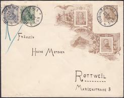 Germany - 2 Pfg. Germania (PU 24 D5) + Mi. 68. 85 MiF  Privat GA-Umschlag, Friedrich I. & Wilhelm II. Tübingen 23.4.1906 - Stamped Stationery