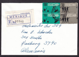 Mexico: Registered Cover To Germany, 1968, 4 Stamps, Olympics, Shooting, Water Polo, Sports, R-label (minor Damage) - México