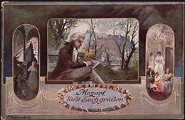 Austria - Wolfgang Amadeus Mozart. 'Läßt Euch Grüßen', Künstler Ak F. Kulstrunk. Salzburg 18.7.1912. - Historical Famous People