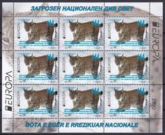 MACEDONIA NORTH 2021,EUROPA CEPT,ENDANGERED NATIONAL WILDLIFE,LYNX,SHEET,MNH - Macédoine