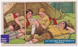 Chromo / Image Félix Potin - Vie Des Boys-Scouts - Boy Scout Scoutisme Enfant Repos Tente Camping Lecture A53-35 - Félix Potin