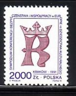 POLEN MI-NR. 3333 POSTFRISCH(MINT) MITLÄUFER 1991 KSZE - European Ideas