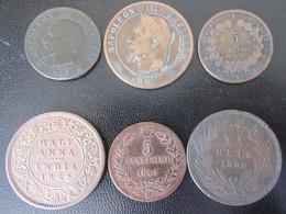 France / Italie / Inde / Portugal - 6 Monnaies 19e Siècle Dont 10 Cts Napoléon 1861 BB, Half Anna 1862, Etc... - Lots & Kiloware - Coins