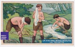 Chromo / Image Félix Potin -Vie Des Boys-Scouts - Boy Scout Scoutisme Enfant Toilette Rivière Nature Camping A53-40 - Félix Potin