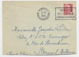 GANDON 15FR ROUGE LETTRE MECANIQUE FRANKERS SECAP PARIS 60 R DE LA CONVENTION 11.1.1950 - Sellados Mecánicos (Publicitario)
