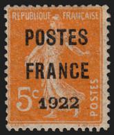 Préoblitérés N°36, Semeuse 5c Orange POSTES FRANCE 1922, Neuf * COTE 180€ B/TB - 1893-1947