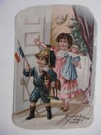 Chromos Découpis Gaufré Glacé CHOCOLAT POULAIN - Enfants Déguisés, Jouets Poupée Cheval De Bois, Sapin De Noël - Poulain