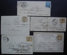 Angers Lot De 4 Lettres Et Une Carte Précurseur - 1849-1876: Periodo Clásico