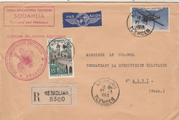Algérie Lettre Recommandée Entête Cachet Section Administrative Spécialisée Souhalia NEMOURS 27/3/1959 à Albi Tarn - Brieven En Documenten