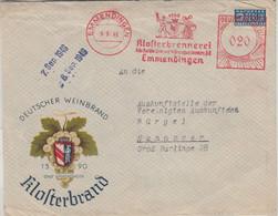 Bizone - Klosterbrennerei 20 Pfg. AFS Illustr. Firmenbrief Emmendingen 1949 - Machine Stamps (ATM)