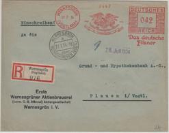 DR - Wernesgrüner Pilsener 42 Pfg. AFS Einschreibebrief Wernesgrün 1934 - Unclassified