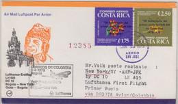 Costa Rica - Zuleitungspost LH 1st-Flug Bogota - New York/JFK 1979 - Costa Rica