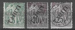 Tahiti YT N° 10 Neuf *, N° 11 Neuf * Et N° 15 Oblitéré. B/TB. A Saisir! - Unused Stamps
