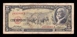 Cuba 5 Pesos Máximo Gómez 1958 Pick 91a BC F - Cuba